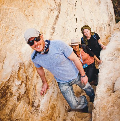 Young adults hiking on birthright