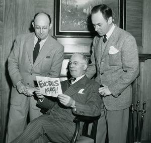 Three men participating in the Exodus 1949! campaign