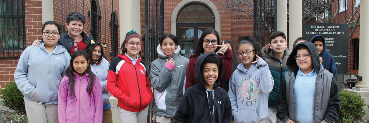 Baltimore City school children outside of the JMM