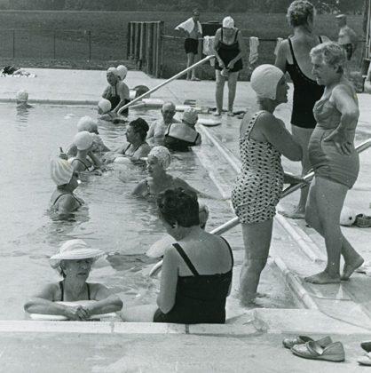 Women in pool at Camp Milldale, Senior Days