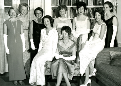 Women dressed in gowns at the Campaign Ball