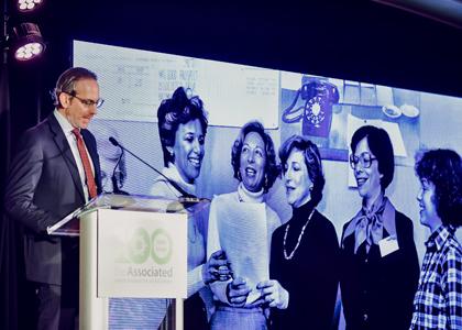 John Davison speaking at centennial kickoff
